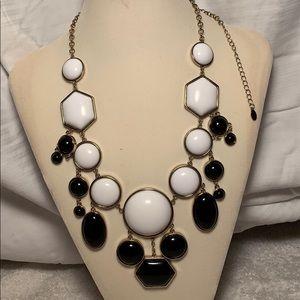 Statement bib necklace - black and white
